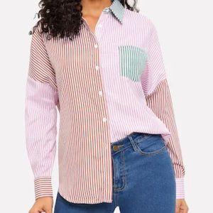 Preppy Stripe Color-block Button Up Shirt